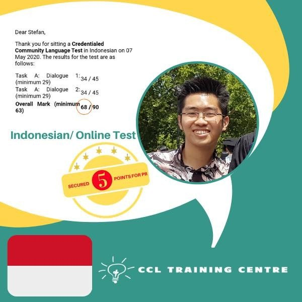 NAATI CCL Training Centre Indonesian Result